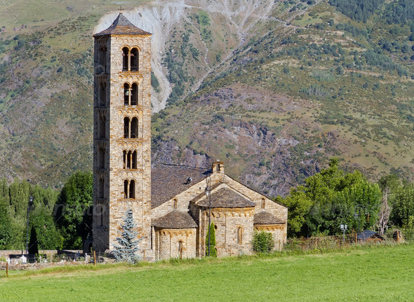Romanesque church of Sant Climent de Taull, Catalonia, Spain - Stock Photo - Images