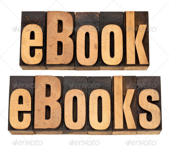 ebook and ebooks in letterpress type - Stock Photo - Images