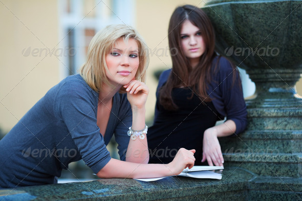 Two Young Female Students On Campus - Stock Photo - Images