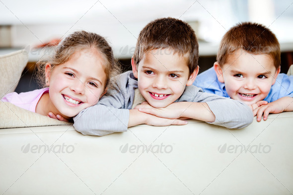 Group of children smiling - Stock Photo - Images