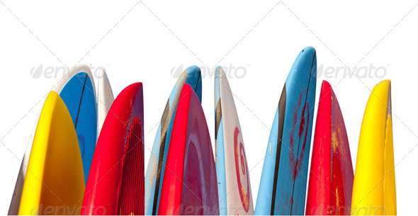 Stack of surfboards isolated - Stock Photo - Images