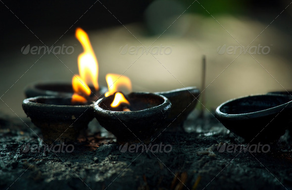 Fire in temple - Stock Photo - Images