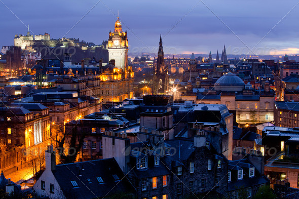 Edinburgh Cityscape Dusk - Stock Photo - Images