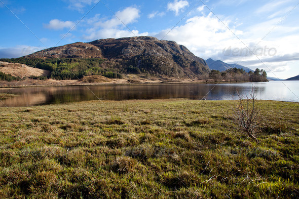 Loch Shiel Lake Reflection Scotland - Stock Photo - Images