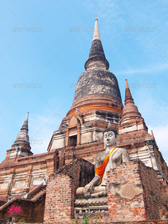 Wat Yai Chai Mongkol- Ayuttaya of Thailand - Stock Photo - Images