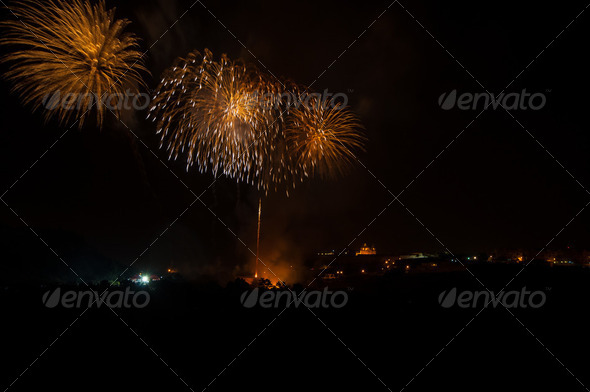 Fireworks at Mdina, Malta - Stock Photo - Images