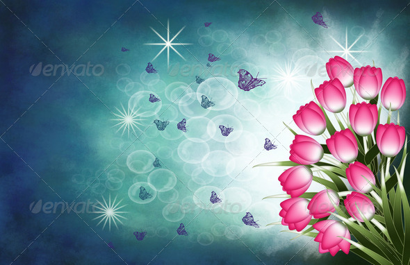 Tulips and butterflies - Stock Photo - Images
