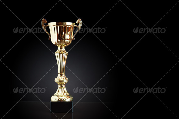 Gold Trophy On Black - Stock Photo - Images