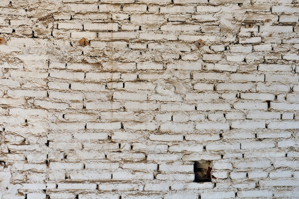 dirty white brick wall background - Stock Photo - Images