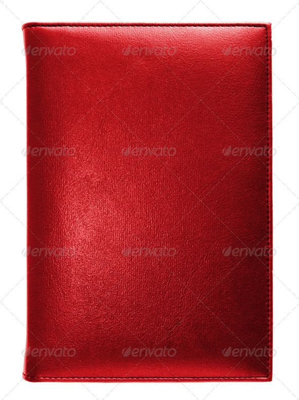 Red leather note book isolated on white background - Stock Photo - Images