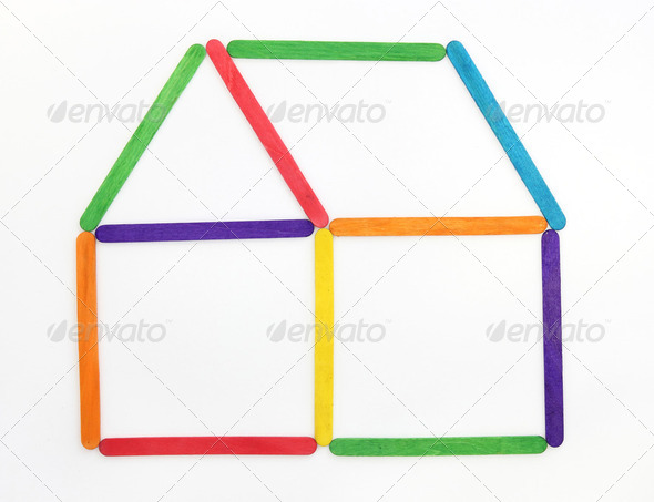 House icon made colorful wood ice-cream stick - Stock Photo - Images
