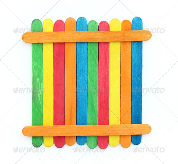 blank colorful wood ice-cream stick - Stock Photo - Images