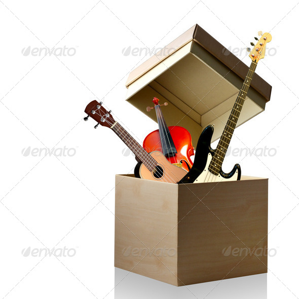 Music instrument box, Instrument isolated - Stock Photo - Images