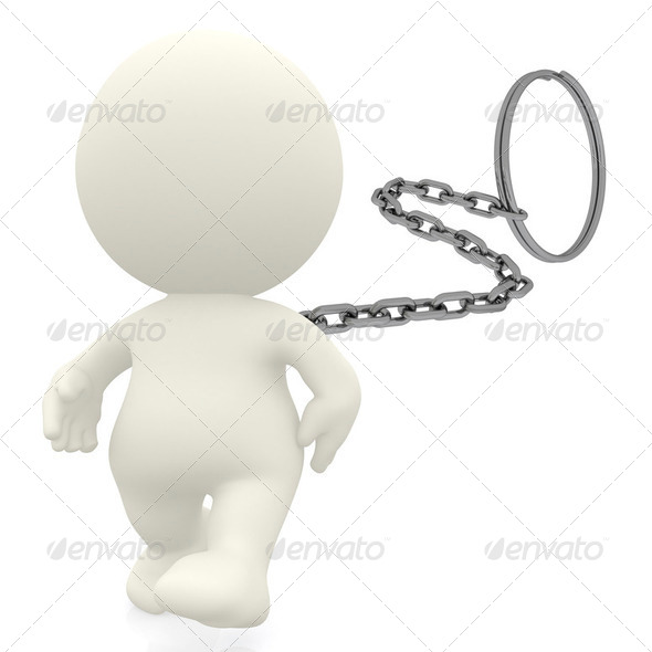 3D man as key ring - Stock Photo - Images