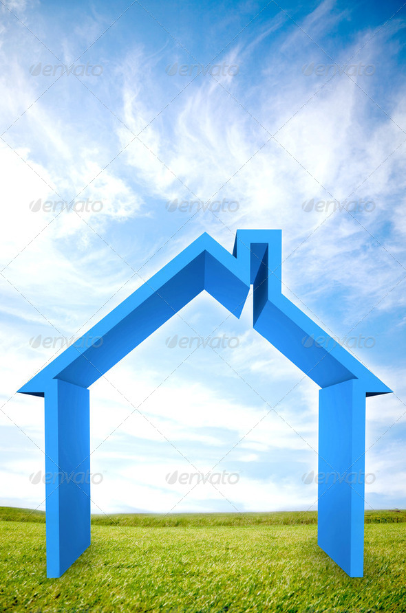 3D house illustration outdoors - Stock Photo - Images