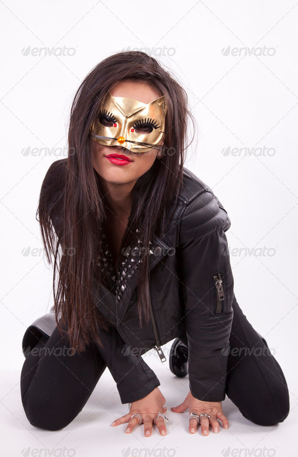 Attractive sexy masked woman - Stock Photo - Images
