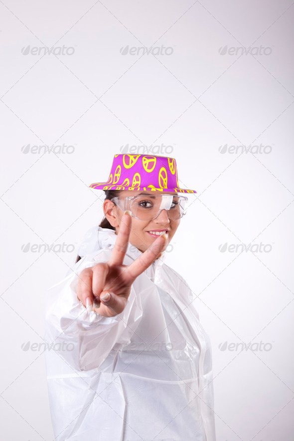 Young lab technician showing sign peace - Stock Photo - Images