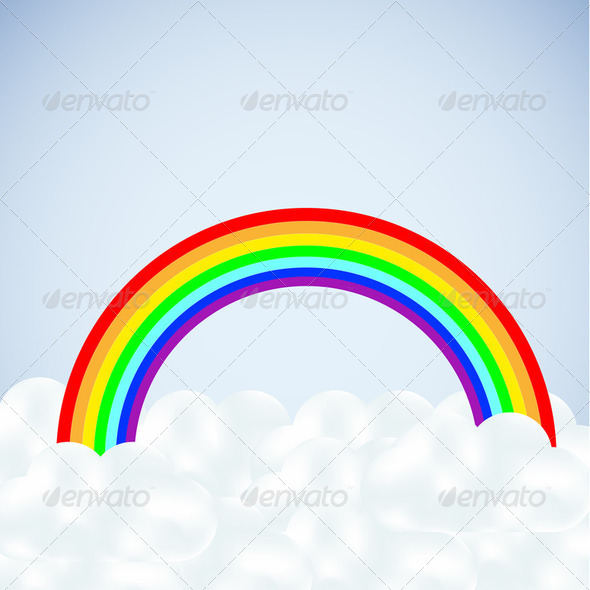 clouds with a rainbow on blue.  - Stock Photo - Images