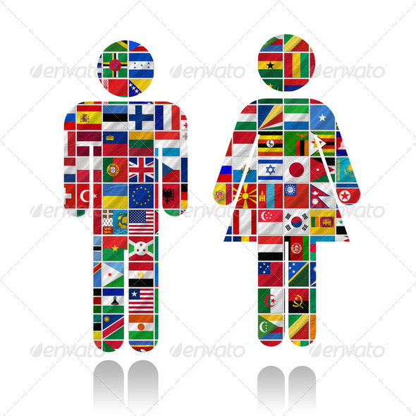 sign with flags of the world - Stock Photo - Images