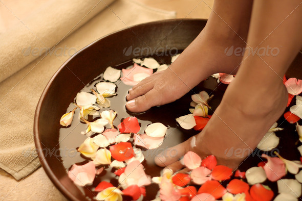 Foot spa and aromatherapy - Stock Photo - Images