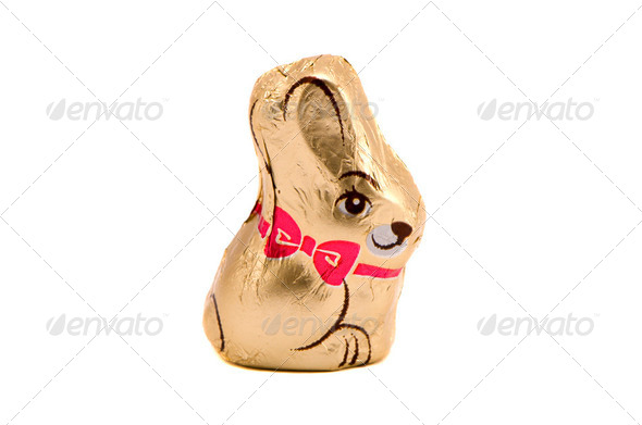 Isolated chocolate bunny Easter symbol on white - Stock Photo - Images