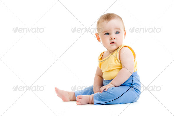 Little boy isolated studio shot - Stock Photo - Images