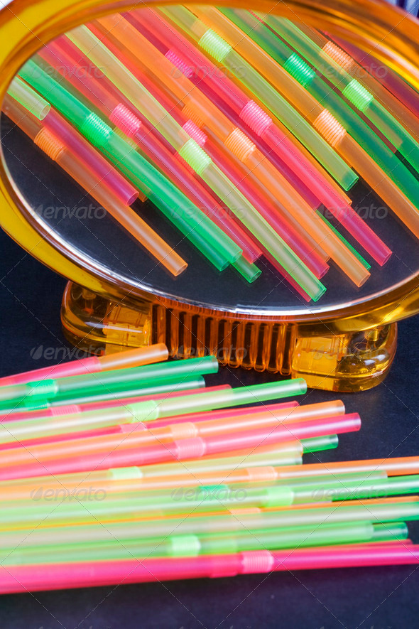 Drinking straws reflected - Stock Photo - Images