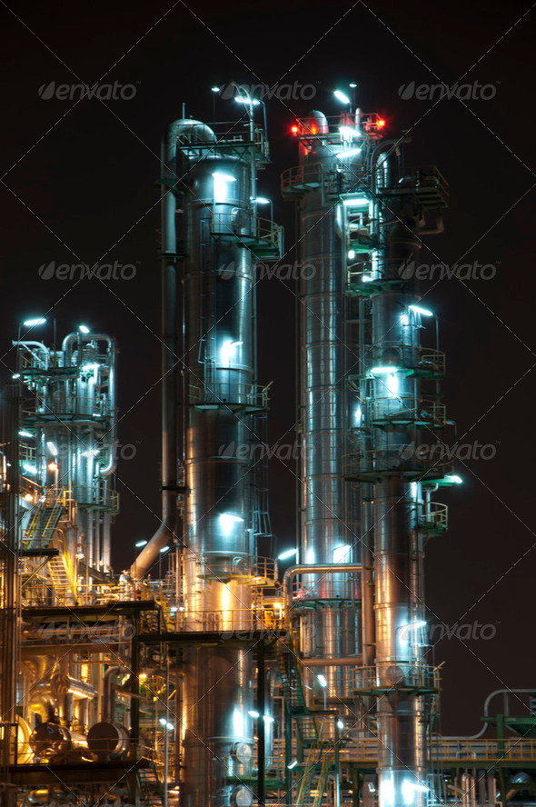 Night scene of chemical plant - Stock Photo - Images