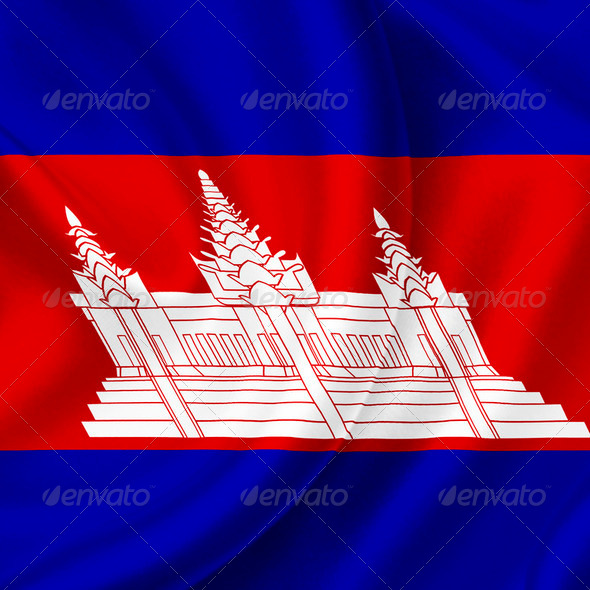 Cambodia waving flag - Stock Photo - Images