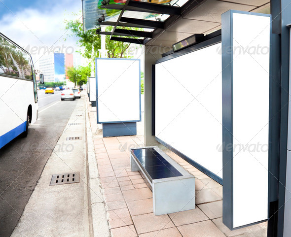 Blank white advertising Sign at Bus station in the city - Stock Photo - Images