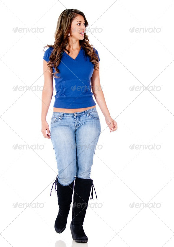 Casual woman walking - Stock Photo - Images