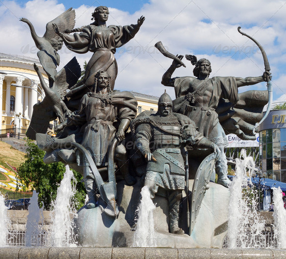 Monument of City-founders at Independence Square in Kiev, Ukrain - Stock Photo - Images