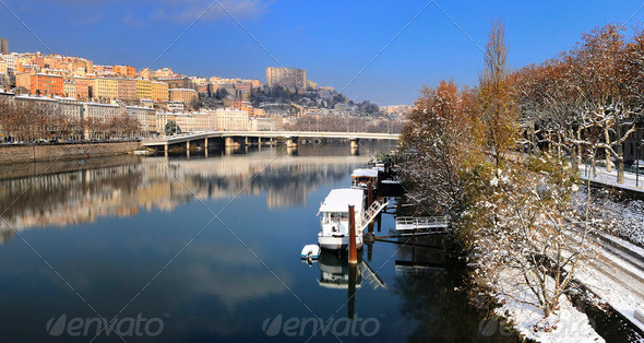 Lyon Croix Rousse and Rhone river - Stock Photo - Images