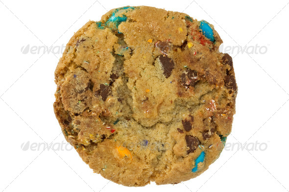 Color Chocolate Chip Cookie Isolated On White - Stock Photo - Images