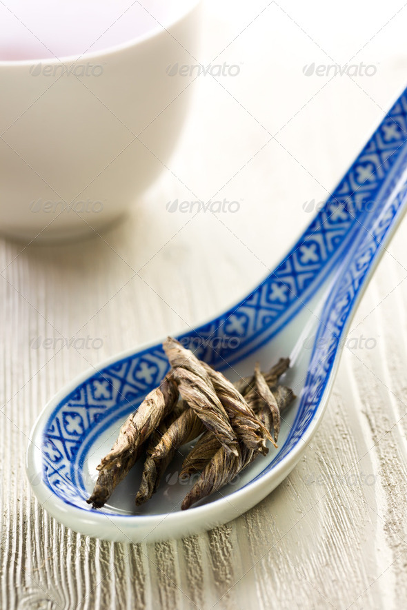dry leaves of green tea - Stock Photo - Images
