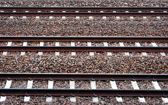 Three railway tracks - Stock Photo - Images