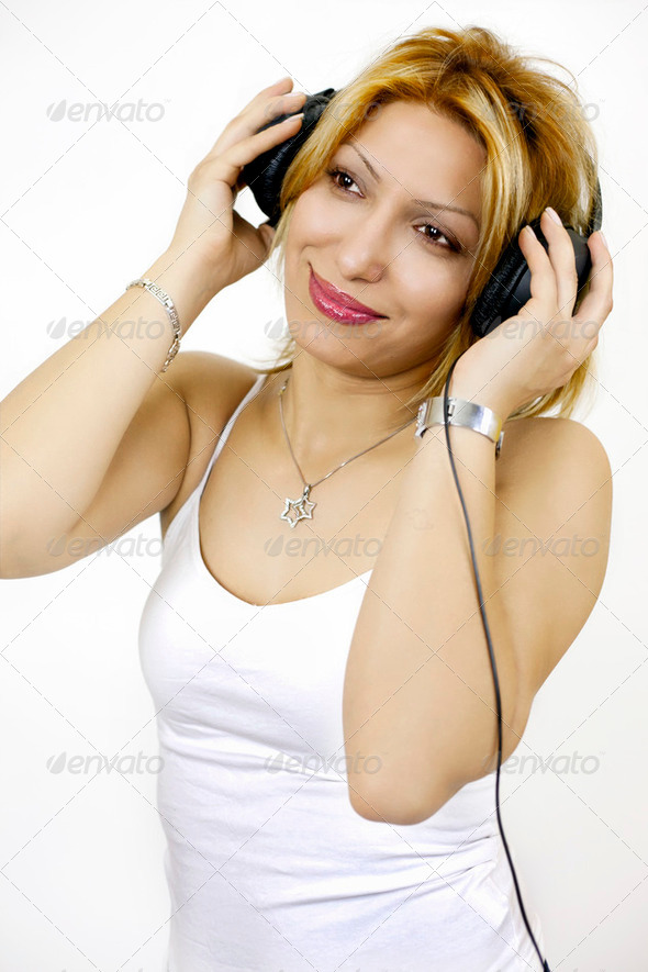 Woman Listening Music - Stock Photo - Images
