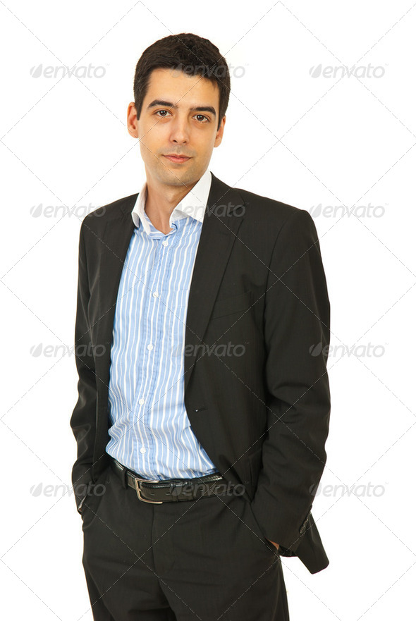 Business man in black suit - Stock Photo - Images