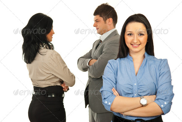 Young business woman and her team - Stock Photo - Images