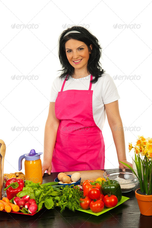 Happy woman in kitchen - Stock Photo - Images
