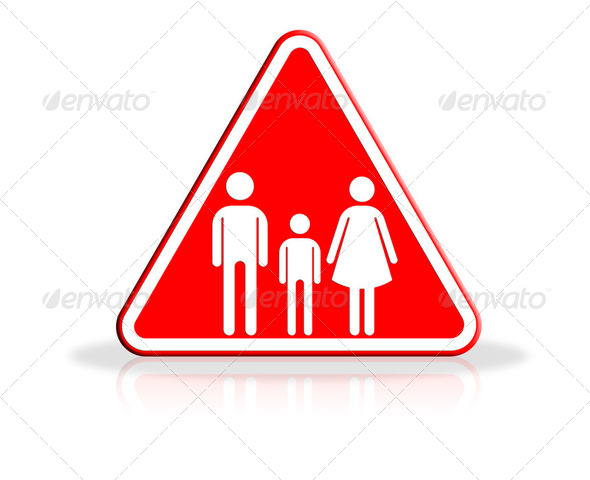 Family icon in traffic plate - Stock Photo - Images