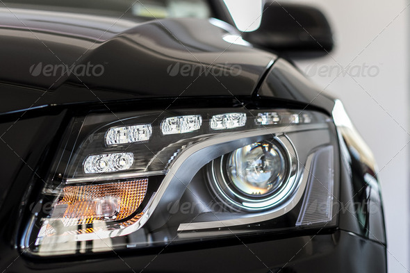 Head lights of a car - Stock Photo - Images