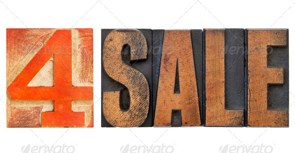 for sale sign in letterpress type - Stock Photo - Images