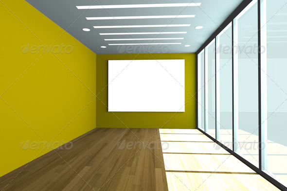 empty office room with yellow wall and wood floor - Stock Photo - Images