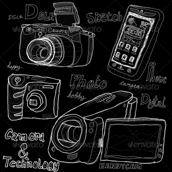 Camera and technology sketch drawing - Stock Photo - Images