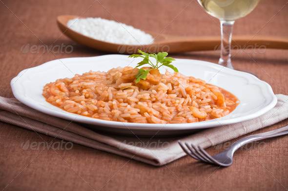 Shrimp risotto. - Stock Photo - Images