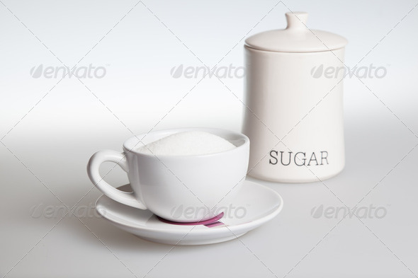 Tea cup with sugar - Stock Photo - Images