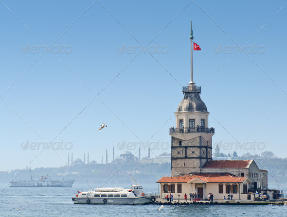 Maiden's Tower in Istanbul, Turkey - Stock Photo - Images