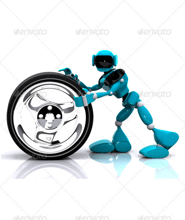 GraphicRiver Robot and Wheel 3341411
