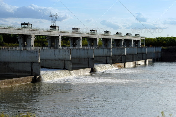 hydroelectric dam on the river, landscape - Stock Photo - Images